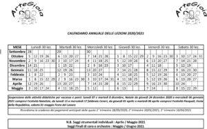 calendario lezioni 2020/21